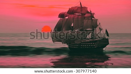 Sailboat against beautiful sunset landscape