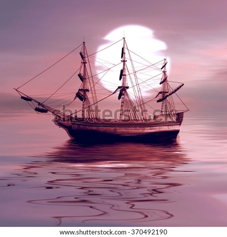 Sailboat against sunset landscape - stock photo