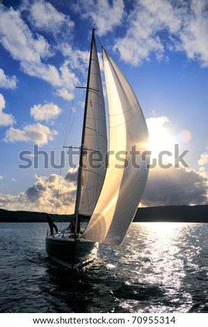 Sailboat against the sky - stock photo