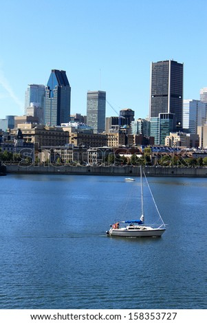 Sailboat along the St. Lawrence River in downtown Montreal, Quebec, Canada