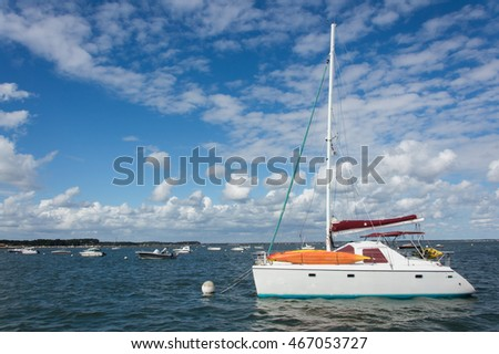 Sailboat anchored in a bay