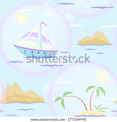 Sailboat and islands seamless texture - stock photo