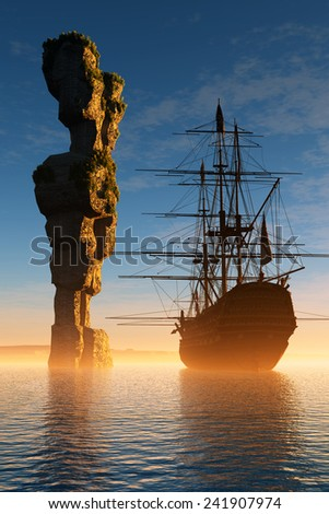 Sailboat and rock in the sea. - stock photo