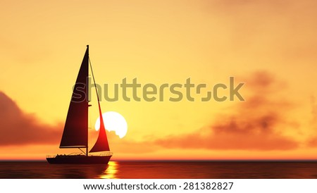 sailboat and sunset  background 3d rendering,sailboat and sunset silhouette ,sailboat in the sea on sunset.