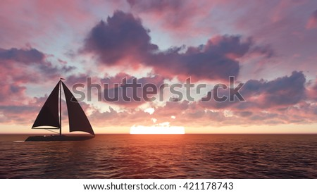 Sailboat at sunset 3D illustration