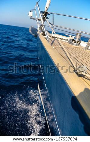 Sailboat bow, Italy - stock photo