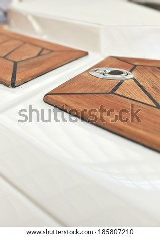 Sailboat bow, wood deck detail, - stock photo