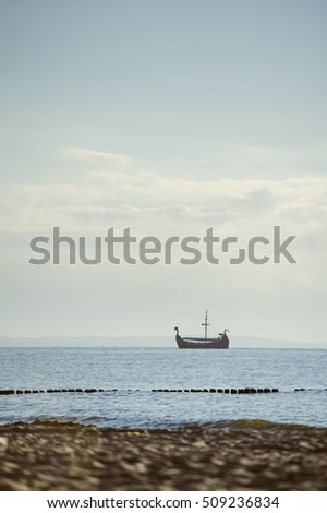 sailboat in Baltic sea in summer time