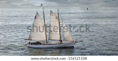 Sailboat in open water - stock photo