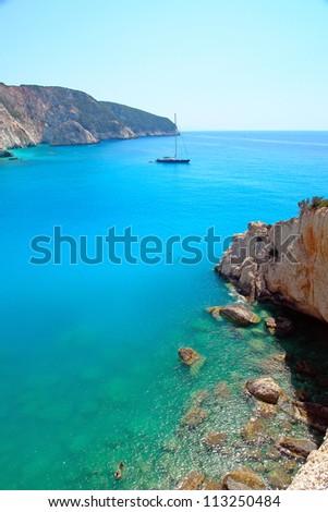 Sailboat in porto Katsiki beach, Lefkada Greece - stock photo