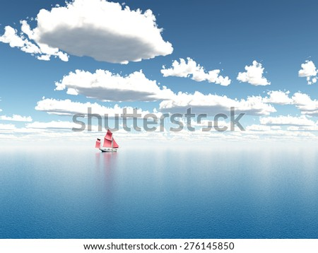Sailboat in the distance Computer generated 3D illustration - stock photo