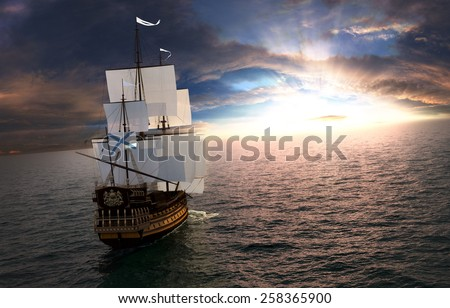 Sailboat in the ocean at the sunset - stock photo