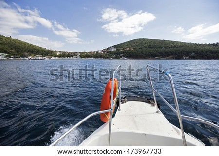 Sailboat in the sea, holiday date on the water, travel and tourism concept.