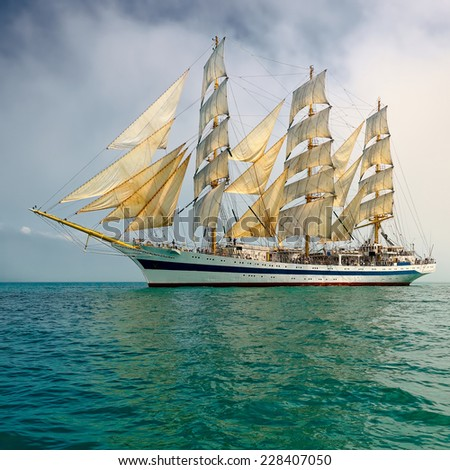 Sailboat. Large collection of ships and yachts - stock photo