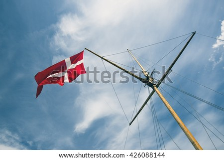 Sailboat mast with Danish flag. -  Assens, Funen, Denmark. - stock photo