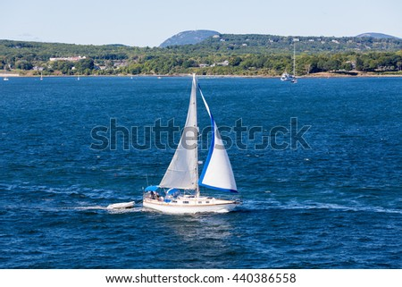 Sailboat off the beautiful coast of Rockland, Maine