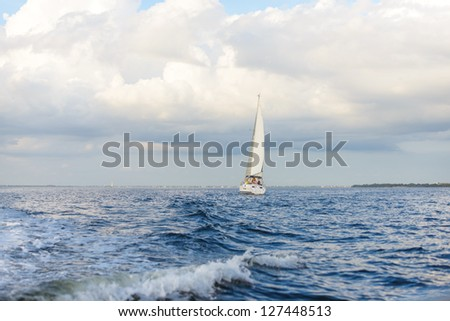 Sailboat on Port Charlotte Harbor, Florida,  in January.