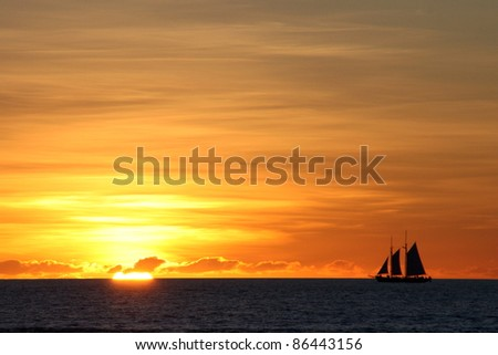 Sailboat on sunset, Broome, Australia - stock photo