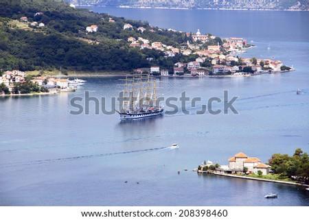 Sailboat on the Adriatic sea - Montenegro - stock photo