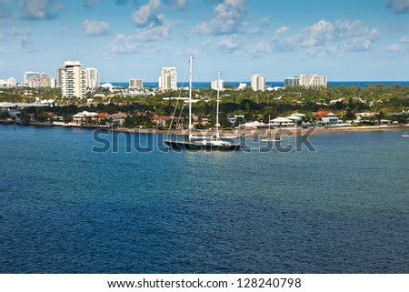 Sailboat on the intra-coastal waterway in Fort Lauderale , Florida - stock photo