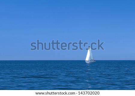 Sailboat on the Mediterranean Sea, with good conditions