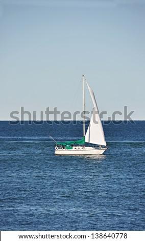 Sailboat on the Ontario lake ( Niagara-on-the-Lake, Canada) - stock photo