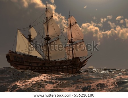 Sailboat On The Sea 3D Illustration
