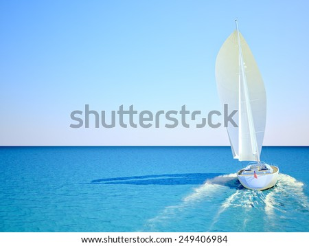 Sailboat racing in the blue and calm ocean against sky. 3d rendering - stock photo