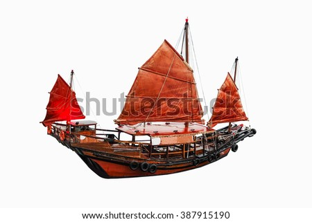 Sailboat red flag in Hong Kong on white background with clipping path - stock photo