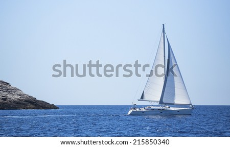 Sailboat trip on sea. Luxury yachts, sea voyages. - stock photo