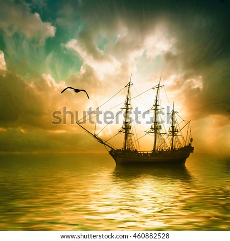 Sailboats against sunset landscape. 3D illustration.
