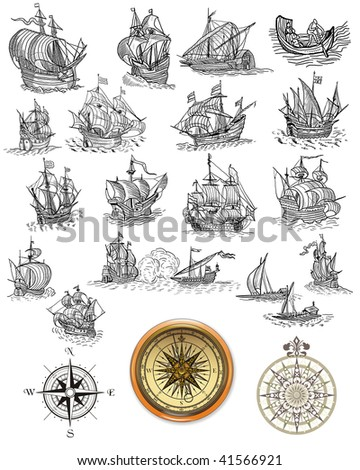 Sailboats and compass - stock photo