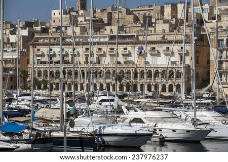 sailboats and waterfront of Senglea marina in front Vittoriosa, Malta