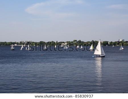 Sailboats at Alster lake in Hamburg - stock photo