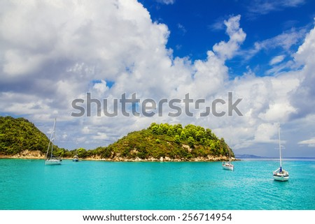 Sailboats at Lakka Bay, Paxos island, Greece - stock photo