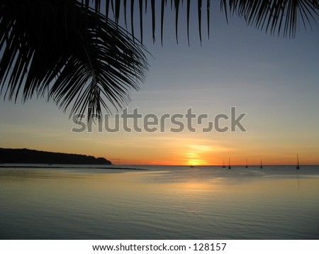 Sailboats at Sunset, Samoa - stock photo