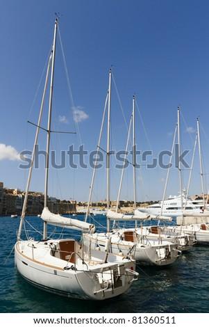 Sailboats at the Vittoriosa marina in Malta - stock photo