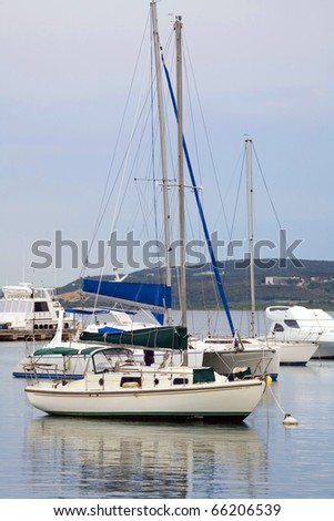 sailboats docked in water in Puerto Rico island.