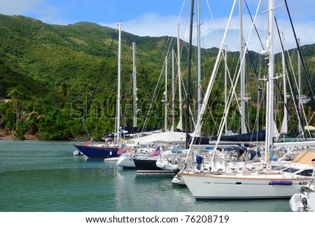 sailboats docked off the mountainous coast of Tortola, British Virgin islands.