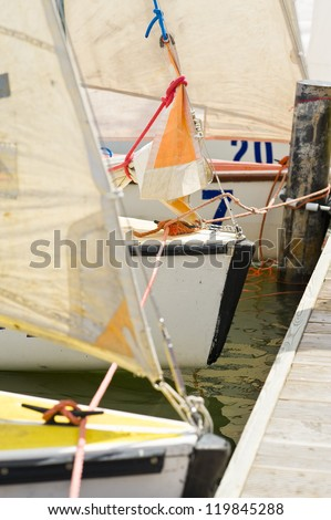 Sailboats in marina on Zarnowieckie Lake, Kaszuby Nadole Polska. - stock photo