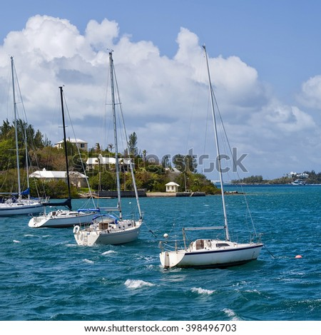 Sailboats moored in Hamilton Harbour, Bermuda.