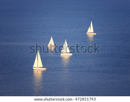 Sailboats on Lake Balaton at Tihany, Hungary