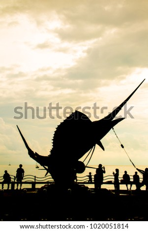 Sailfish sculptures at Aonang Beach, Krabi , Thailand