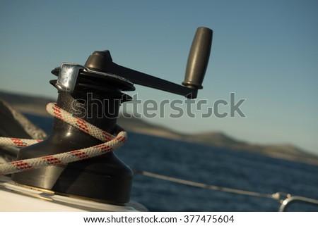 sailiboat winch, sailing i croatia - stock photo