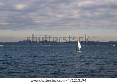 Sailing a cape on the back is one ship of yacht at Enoshima and Kamakura, Japan