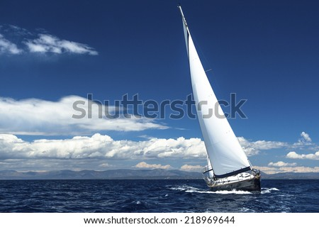 Sailing at ocean. Romantic trip luxury yacht.  - stock photo