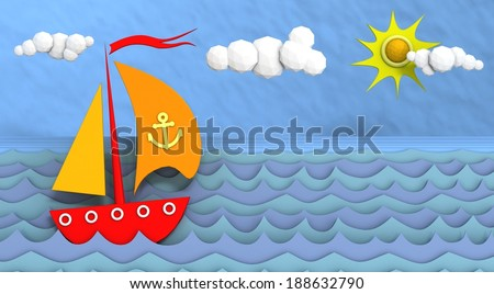 Sailing boat and clouds.
