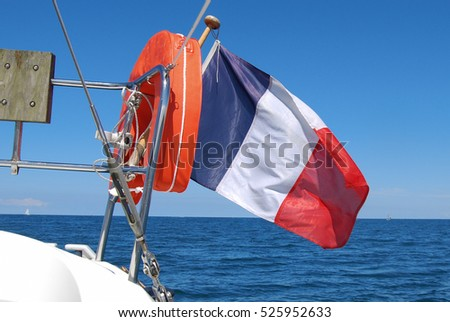 sailing boat and french flag