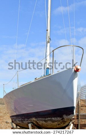 Sailing boat during the repair in Puerto de la Cruz, Tenerife, Canary Islands, Spain.