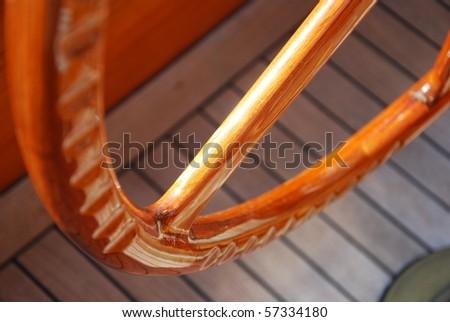 sailing boat helm - stock photo
